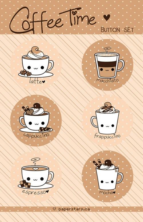 types of coffee, espresso, cappucino, frappuccino, macha, macchiato, latte, coffee, cups,