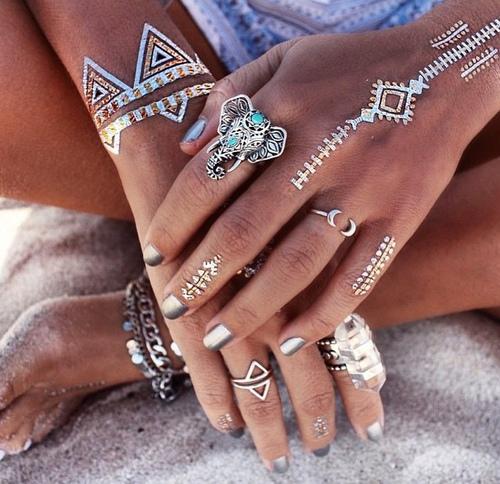 white tattoos, tattoo, rings, elephant ring, metallic nails, silver, beach, sand, flash tattoos