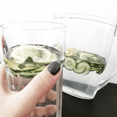 lemon cucumber mint water, detox water recipe
