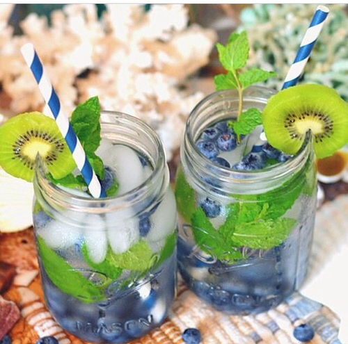 kiwi blueberry mint water, detox water recipe