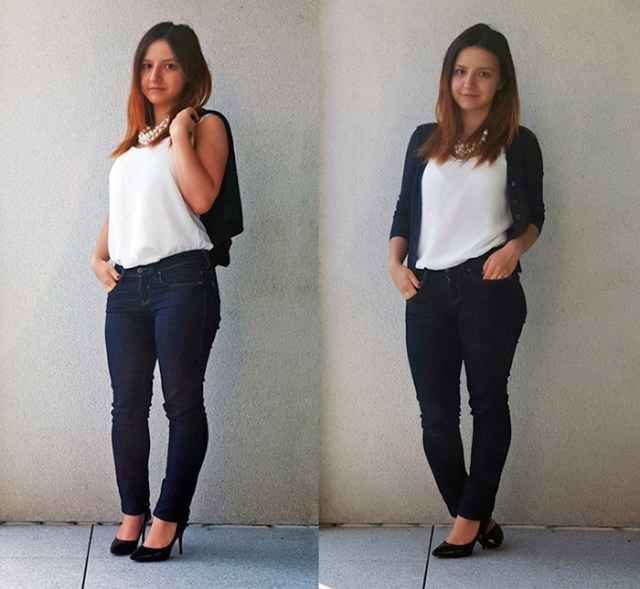 ootd white top collage