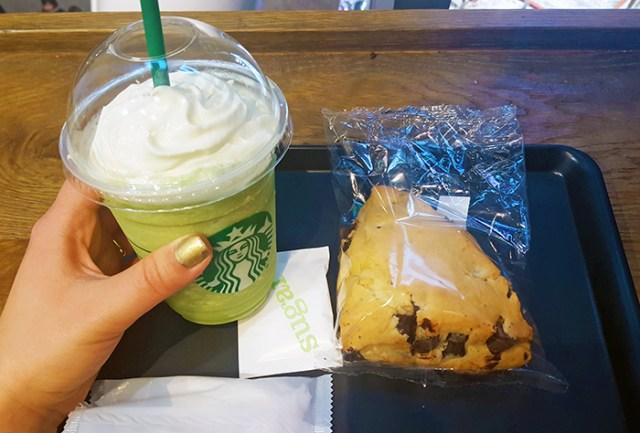 Matcha Latte and Chocolate Scone Starbucks Tokyo