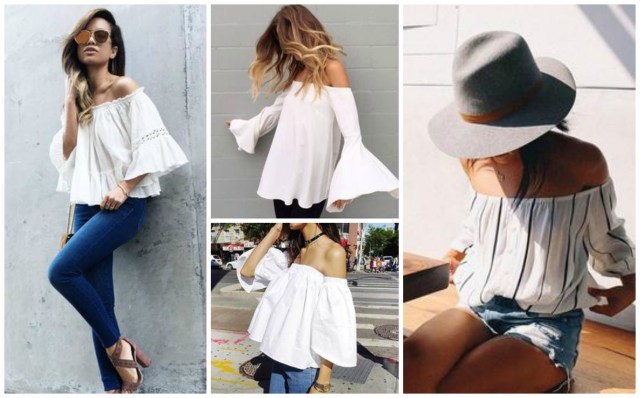 white off-the-shoulder blouses