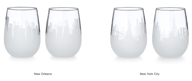 Etched Skyline Wine Glasses