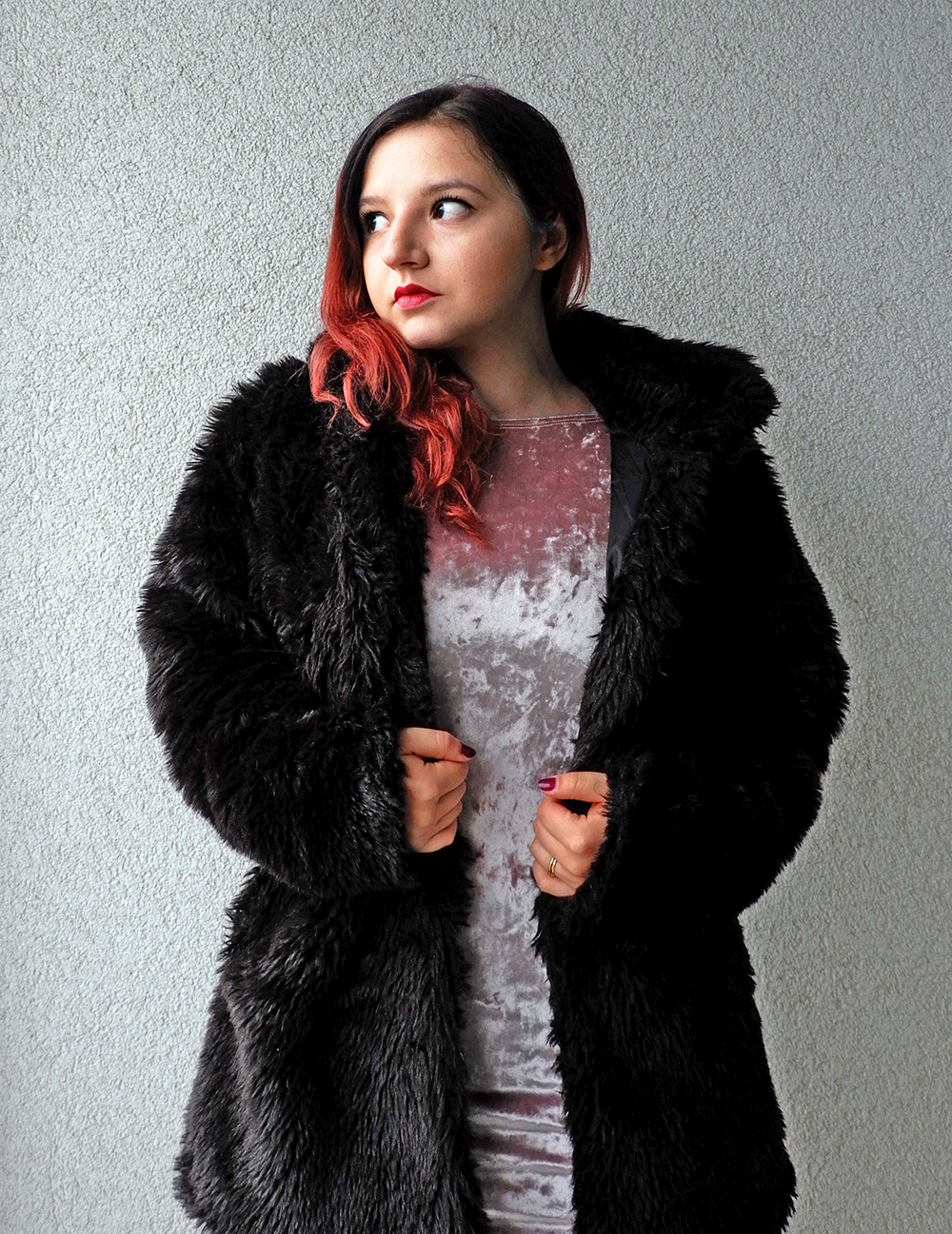 Cute New Year's Outfits for Cold Weather - velvet dress and faux fur coat