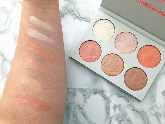 american beauty series colourpop_highlighter palette swatches_