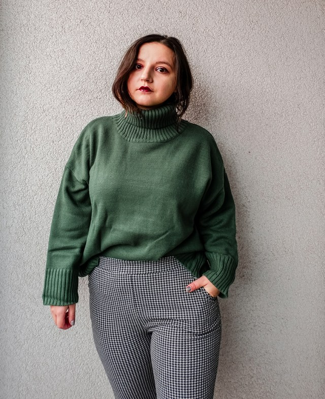 chunky knit sweater and patterned pants