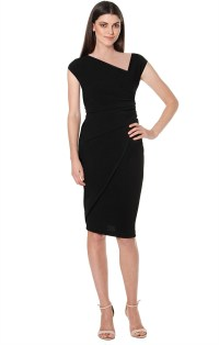 Shop Dresses - ASYMMETRIC FAUX WRAP CAP SLEEVE TEXTURED ...