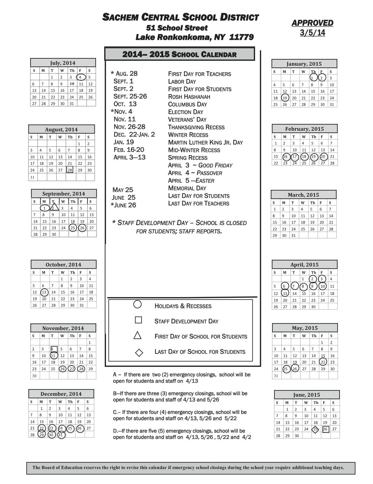 Sachem Schools 2014-2015 calendar