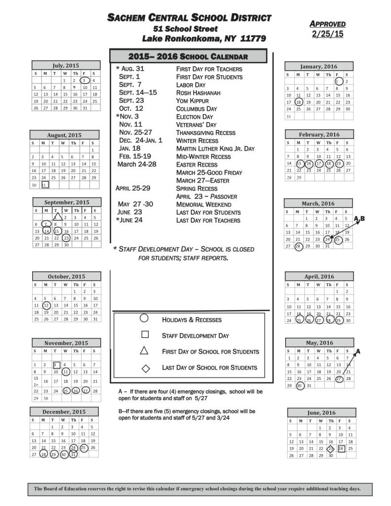 Sachem Schools releases 2015-2016 calendar