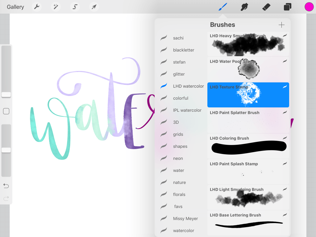 procreate watercolor lettering texture