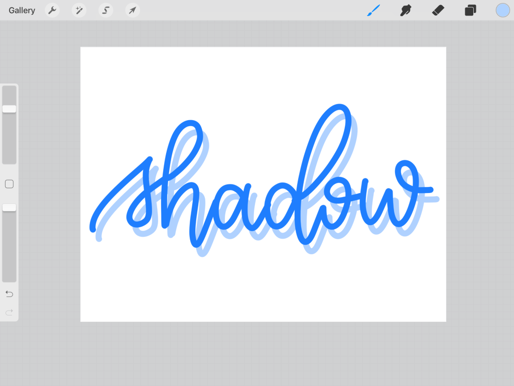 how to add a thicker drop shadow in procreate