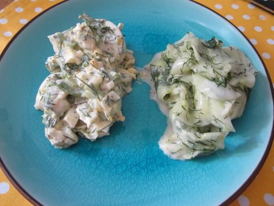 Frische Kombi: Eier- und Gurkensalat geht gut, wenn's heiß ist.