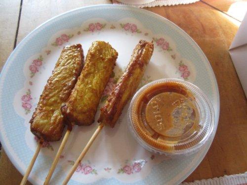 Truthahn-Spiesse mit Erdnuss-Dip