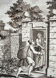 An illustration from Pilgrim's Progress of Christian entering through the narrow gate. Is that when he's