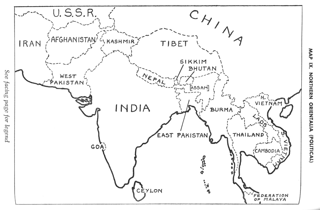 South Asia Map Black And White Sketch Coloring Page