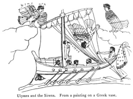 Ulysses and the Sirens. From a painting on a Greek vase.
