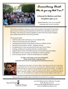 Mother Daughter Retreat flyer june 2014