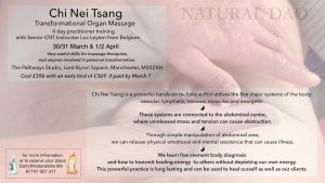Chi Nei TsangTransformational Organ Massage Practitioner Training 2020 @ The Pathways Studio nr MediaCityUK | England | United Kingdom