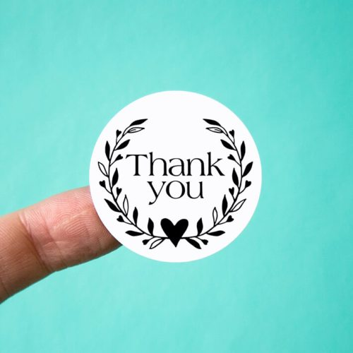 Heart Wreath Thank You Stickers