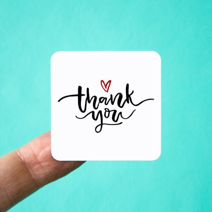 Heart Thank You Stickers