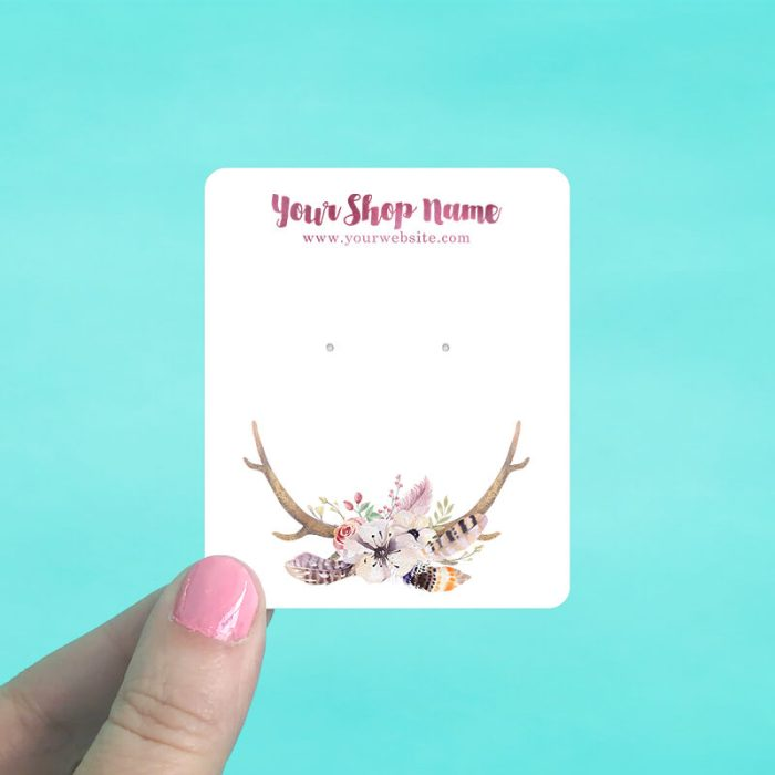 Antlers Floral Jewelry Display Cards