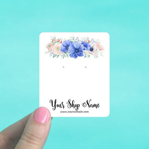 Blue Floral Jewelry Display Cards