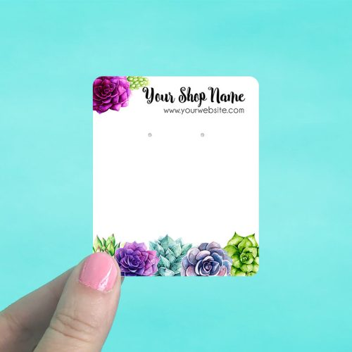 Succulent Garden Jewelry Display Cards
