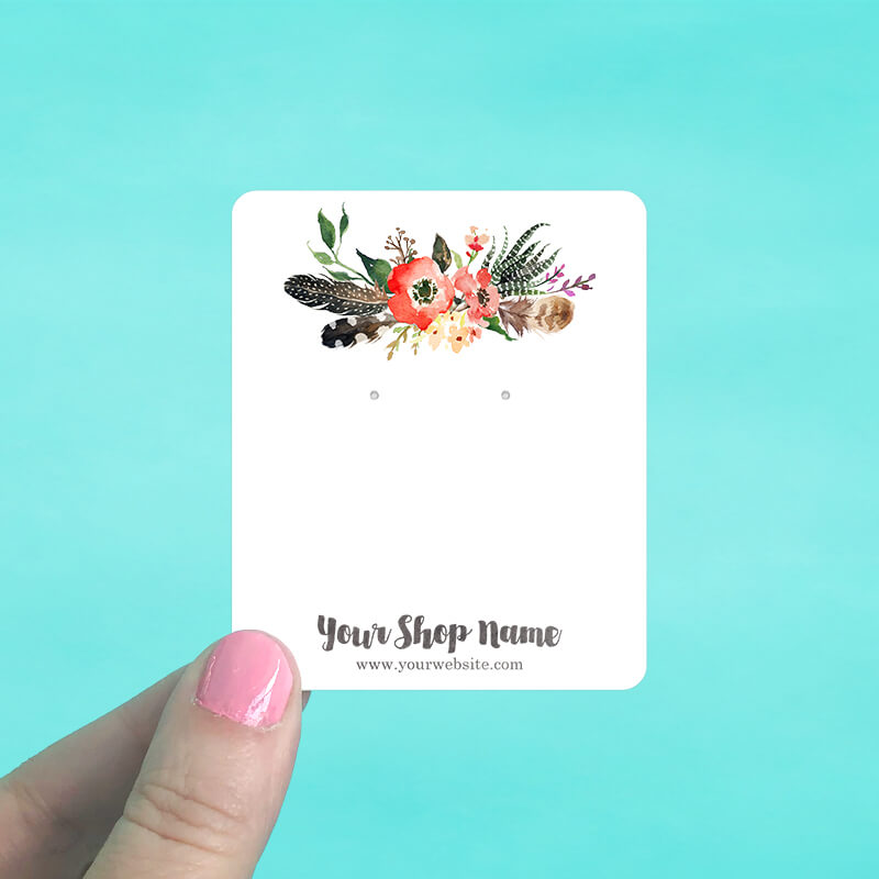 Forest Floral Feather Jewelry Display Cards