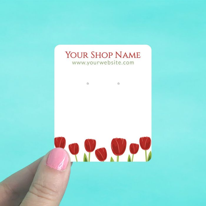 Red Tulips Jewelry Display Cards