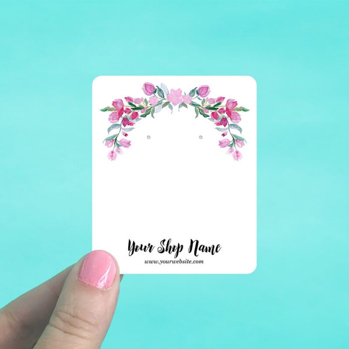 Pink Floral Garland Jewelry Display Cards