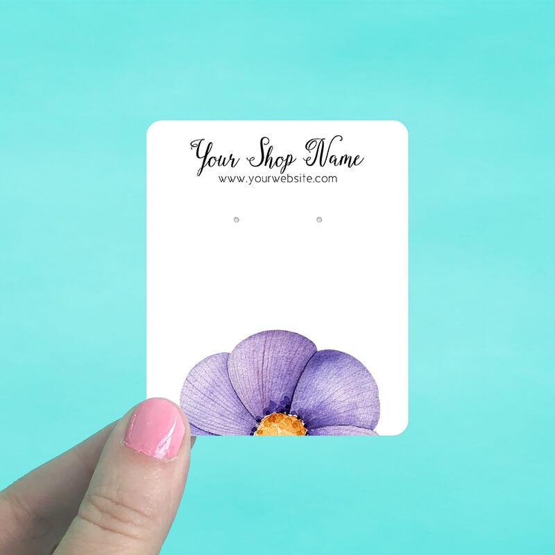 Purple Flower Jewelry Display Cards