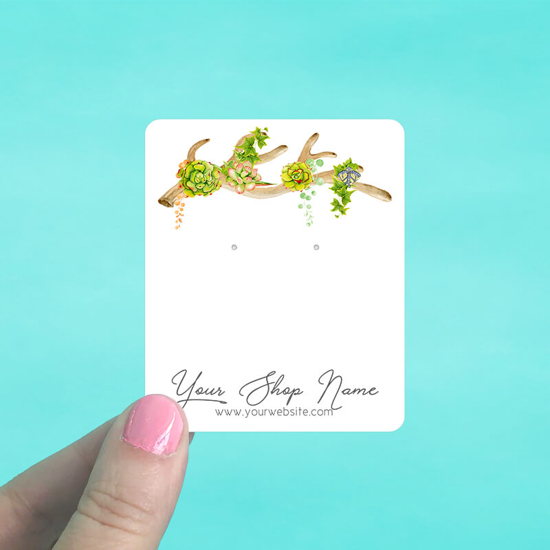 Antler with Succulents Jewelry Display Cards