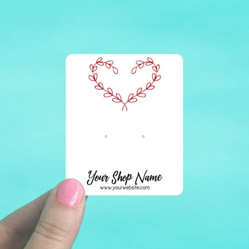 Red Vine Heart Jewelry Display Cards