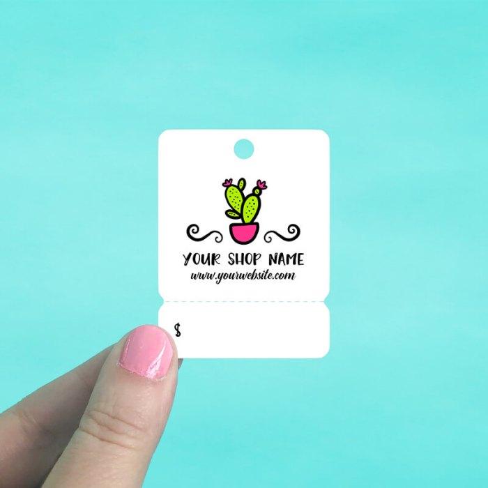 Cartoon Cactus Tear Off Hang Tags