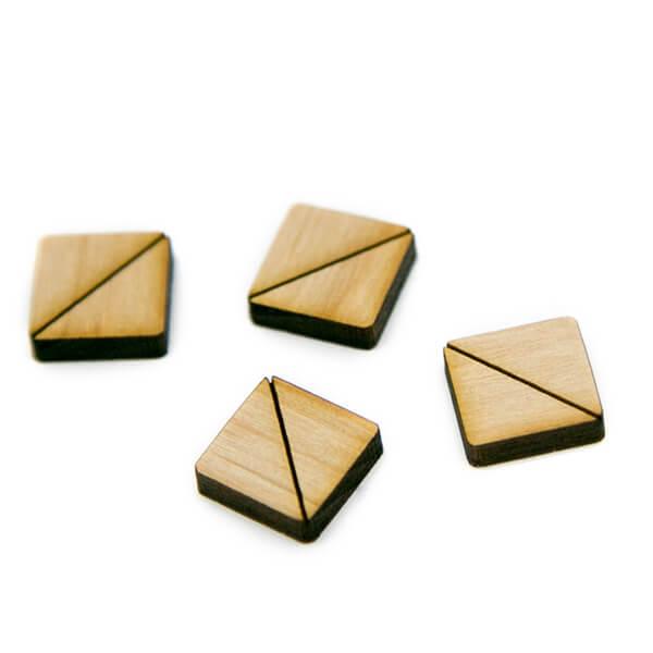 Square Half Wood Cabochons