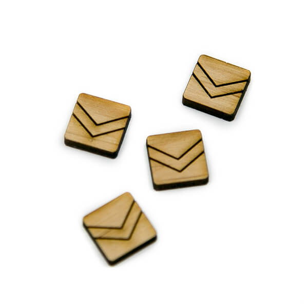 Square Chevron Wood Cabochons