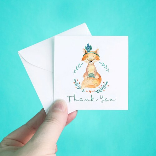 Gypsy Fox Mini Thank You Note Cards