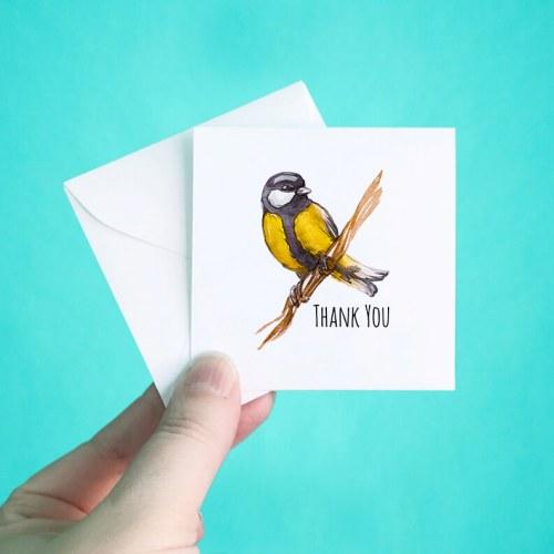 Yellow Bird Mini Thank You Note Cards