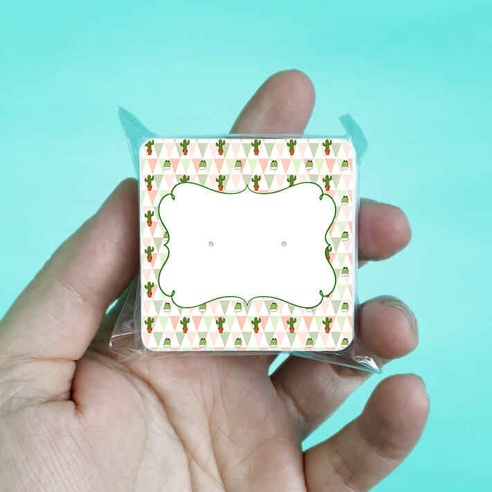 Cactus Pattern Stud Earring Cards