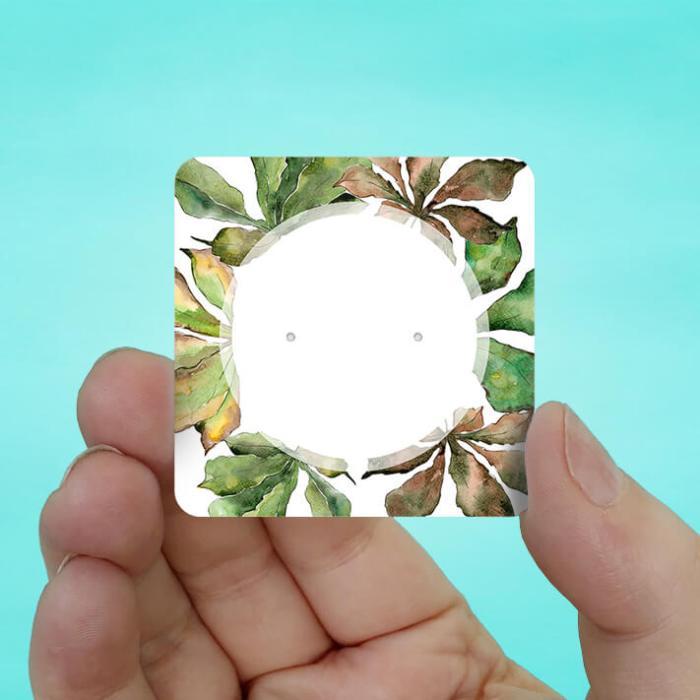 Chestnut Leaves Stud Earring Cards
