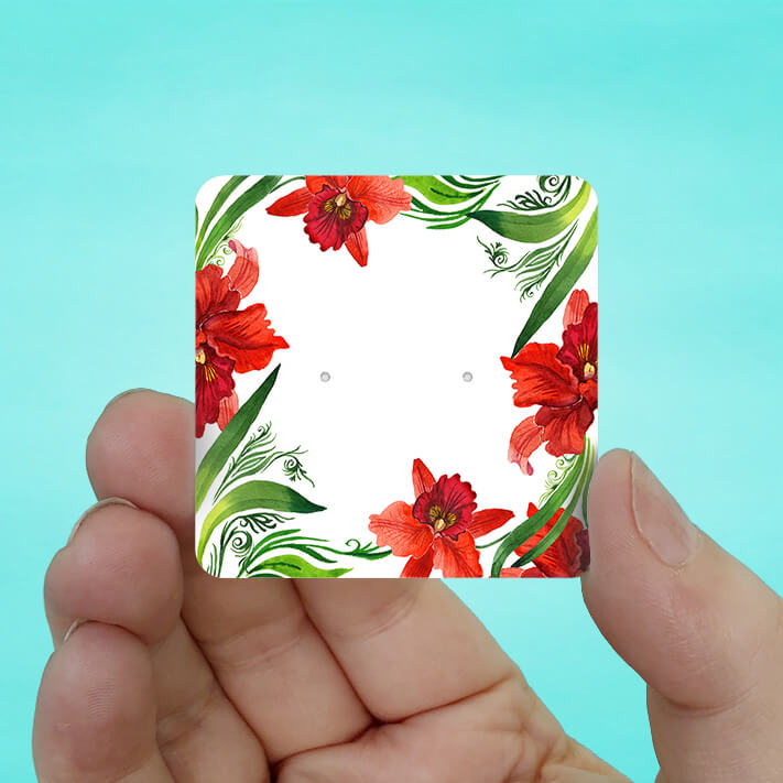 Red Orchid Stud Earring Cards