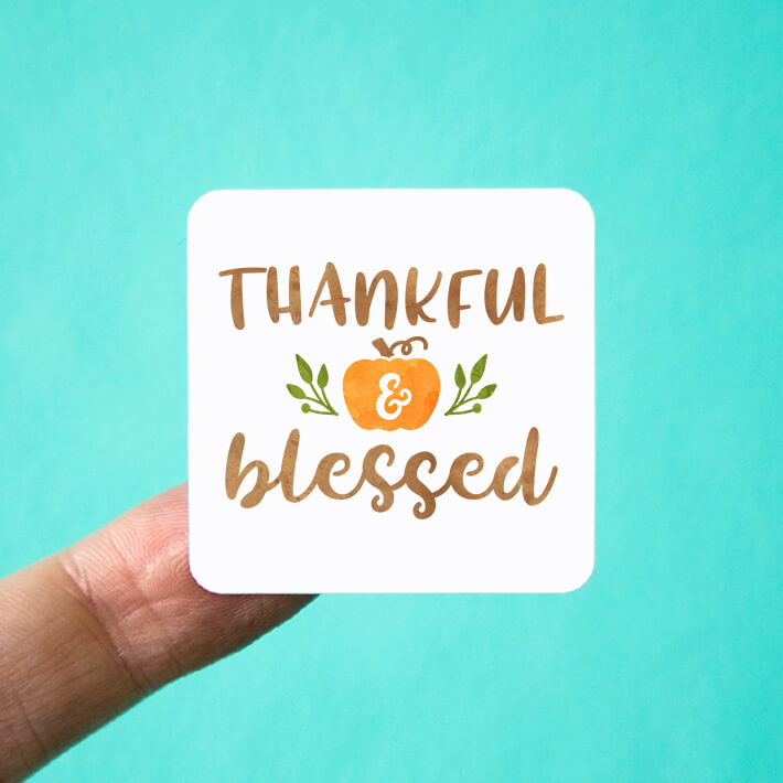 Thankful & Blessed Square Stickers