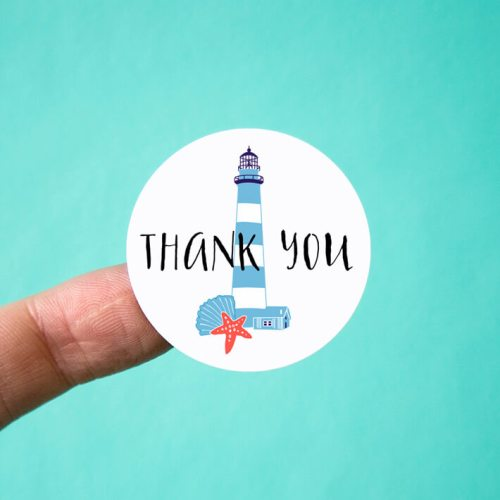 Lighthouse Thank You Stickers