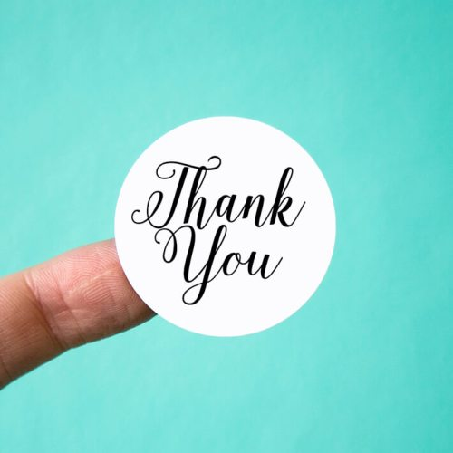 Elegant Script Thank You Stickers