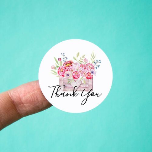 Heart Flower Box Thank You Stickers