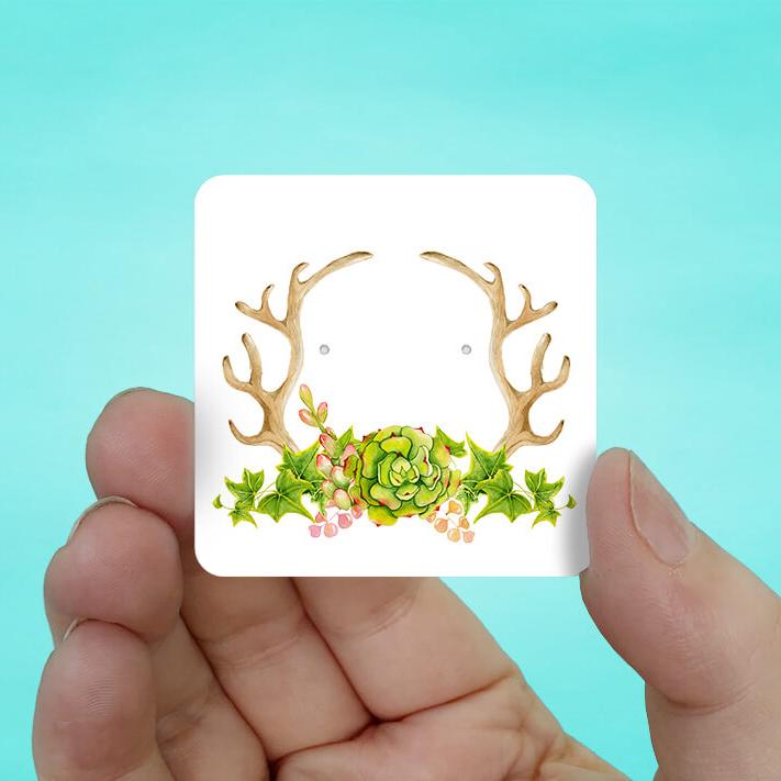 Antler Succulent Stud Earring Cards