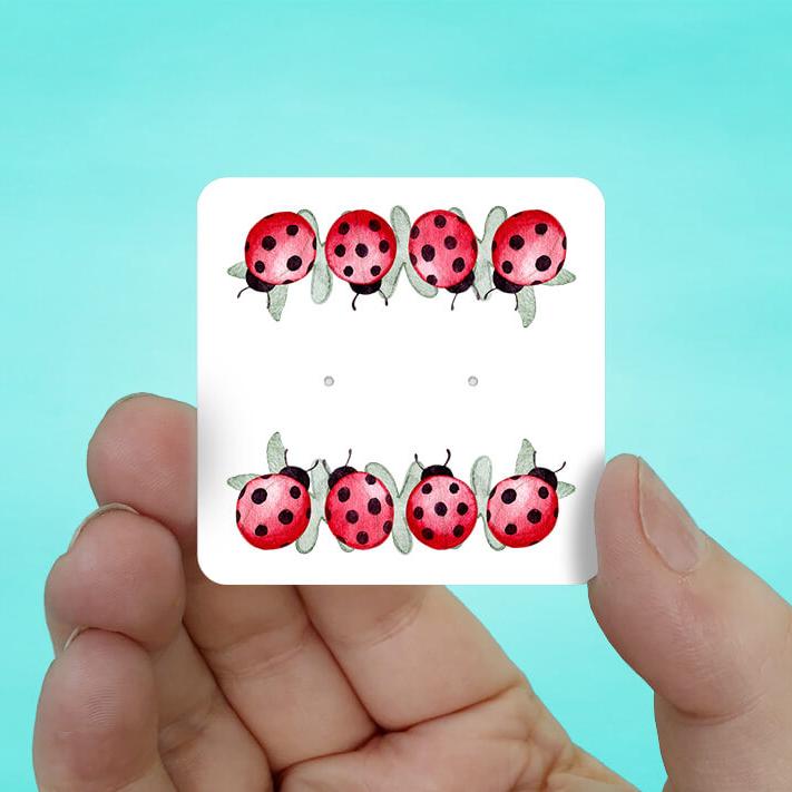 Ladybug Stud Earring Cards