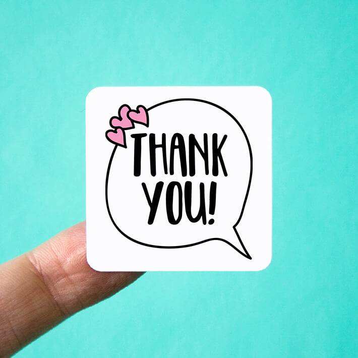 Speech Bubble Thank You Stickers