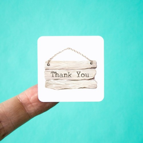 Wood Sign Thank You Stickers